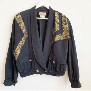 Vintage Farini 80's Black Cropped Jacket Size 8